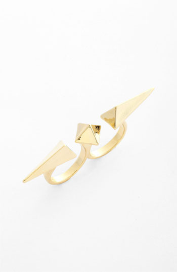 Cara Pyramid Stud Double Finger Ring Gold One Size