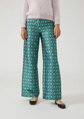 Emporio Armani Palazzo Pants In Jacquard Fabric With An Optical Design
