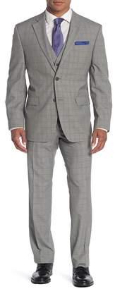 Perry Ellis Light Grey Plaid Notch Lapel Modern Fit Suit