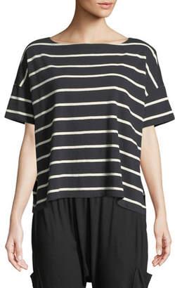 Eileen Fisher Slubby Organic Cotton Striped Box Top, Plus Size