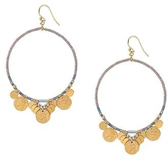 Chan Luu Hoop Earrings with Coin Charms in Lavender Mix