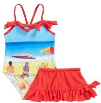 Sol Swim Retro Summer One-Piece Swimsuit & Swim Skirt Set