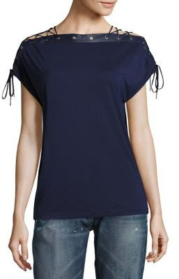 Polo Ralph Lauren Leather-Trim Lace-Up Top $198 thestylecure.com