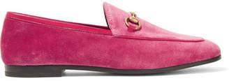 Gucci Jordaan Horsebit-detailed Leather-trimmed Velvet Loafers - Bubblegum