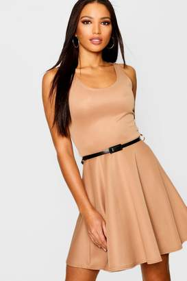 boohoo Scoop Neck Skater Dress