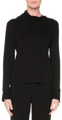 Giorgio Armani Fold-Over Turtleneck Cashmere Sweater, Black $1,995 thestylecure.com