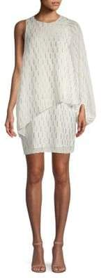 Laundry by Shelli Segal Asymmetrical Cape Popover Dress