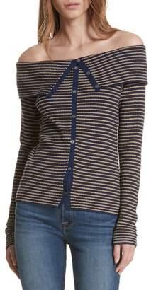 Frame Stripe Off the Shoulder Cardigan