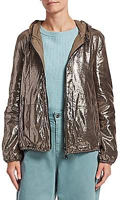 Brunello Cucinelli Women's Sparkling Leather Reversible Hooded Jacket