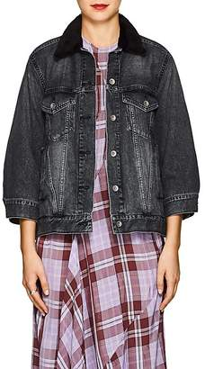Sacai Women's Faux-Shearling-Collar Denim Jacket