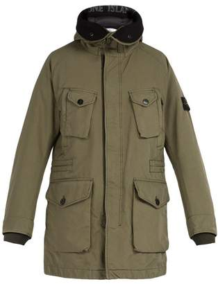 Stone Island Long Line Down Filled Hooded Coat - Mens - Khaki