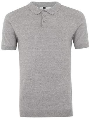 Topman Mens Grey Gray And White Twist Short Sleeve Polo