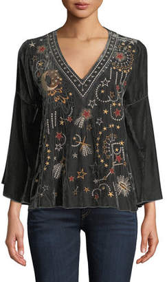 Johnny Was Calisto Velvet Embroidered Swing Blouse, Plus Size