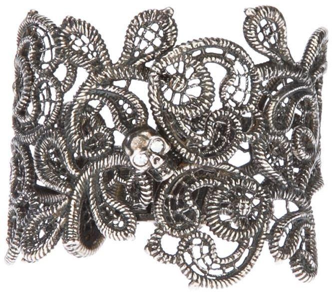 Alexander McQueen skull punk lace cuff