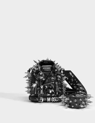 Moschino Biker Spike Crossbody Bag in Black Calfskin