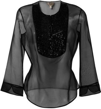 Armani Collezioni three-quarters sleeve sheer blouse