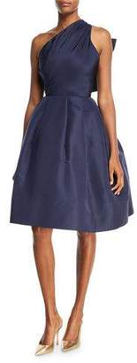 Oscar de la Renta Back Bow-Tie One-Shoulder Silk Taffeta Cocktail Dress