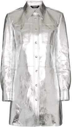 Calvin Klein Metallic Shirt Mini Dress