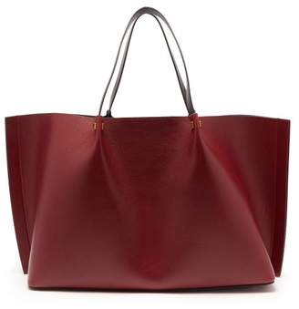 Valentino Go Logo Large Leather Tote Bag - Womens - Burgundy