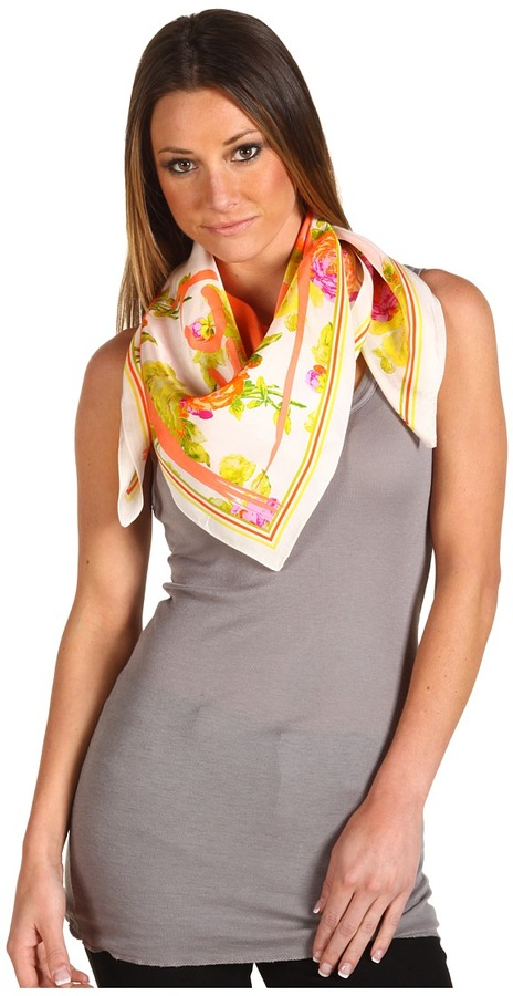 Juicy Couture Neon Floral Silk Square Scarf (Safety Orange) - Accessories