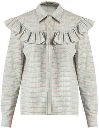 Miu Miu Ruffle-trimmed checked cotton shirt