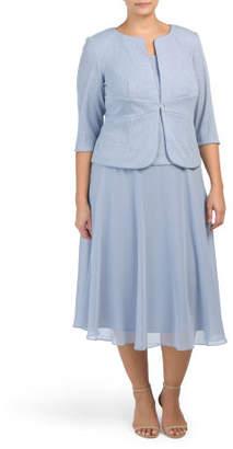 Plus Tea Length Draping Dress With Jacket