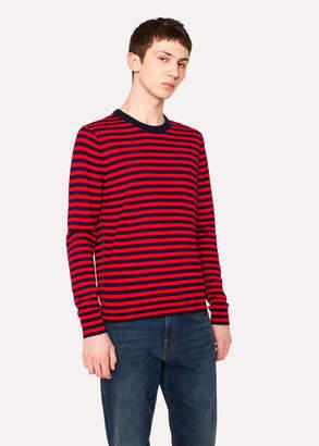 Paul Smith Men's Red And Black Stripe Crew-Neck Merino Wool Sweater