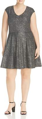 Love Ady Plus Flecked Metallic Fit-and-Flare Dress