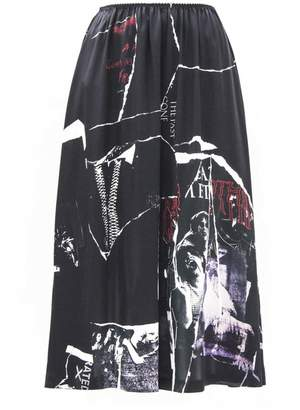 Alexander McQueen Black Silk Long Skirt