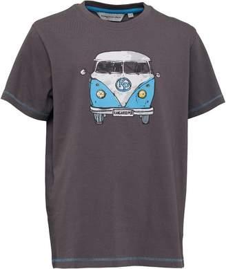 Kangaroo Poo Boys Front/Back Camper Van Print T-Shirt Charcoal/Blue