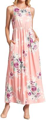 WLLW Women Sleeveless Round Neck Floral Print Pleated Bohemian Beach Maxi Dress