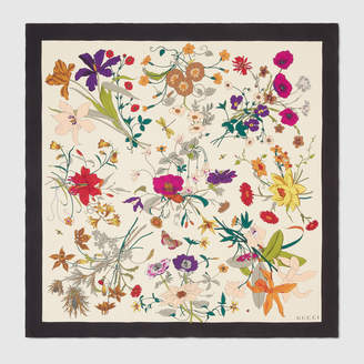Gucci Silk scarf with Flora Gothic print