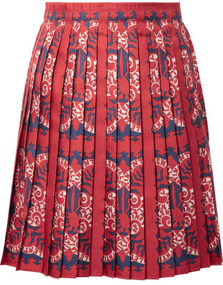 Valentino Pleated Printed Silk Mini Skirt - Red