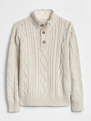 Gap Cable-Knit Henley Sweater