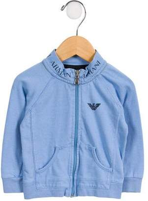 Armani Junior Boys' Logo-Accented Zip-Up Sweatshirt