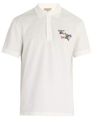 Burberry Rainbow Logo Embroidered Cotton Pique Polo Shirt - Mens - White