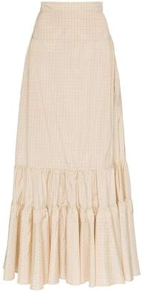 Calvin Klein high-waisted tiered silk maxi skirt