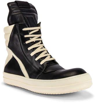 Rick Owens Geobasket Sneaker in Black & Milk   FWRD