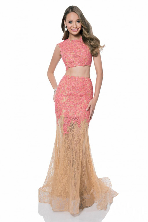 Terani Prom - 1612P1042A Two Piece Lace Prom Dress