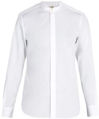 Saint Laurent Wingtip Collar Cotton Poplin Shirt - Mens - White