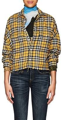 R 13 Women's Plaid Cotton Crop Work Shirt