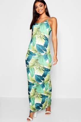 boohoo Tall Tropical Palm Print Maxi Dress