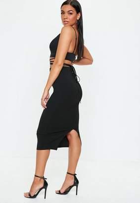Missguided Black High Waist Bodycon Midi Skirt