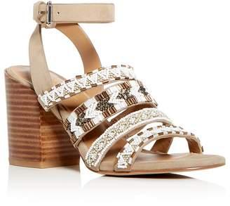 Rebecca Minkoff Women's Caroline Beaded Suede Block Heel Sandals