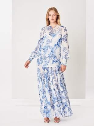 Oscar de la Renta Floral Toile Silk-Chiffon Pleated Tiered Skirt