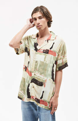 Insight Messy Short Sleeve Button Up Camp Shirt
