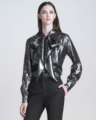Marc Jacobs Metallic Tie-Neck Floral Blouse