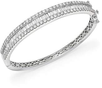 Bloomingdale's Diamond Round and Baguette Bangle in 14K White Gold, 5.0 ct. t.w. - 100% Exclusive