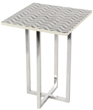 DecMode Decmode Contemporary 21 x 15 inch square wood and bone chevron patterned accent table, Gray, White