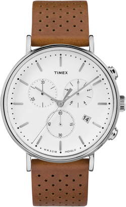 Timex Fairfield Chronograph Leather Strap Watch, 41mm